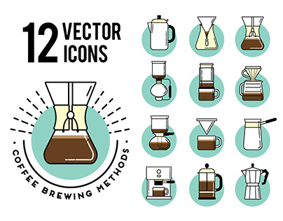 Coffe brewing methods. Icons set