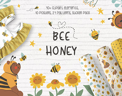 Cute bees, bears and flowers