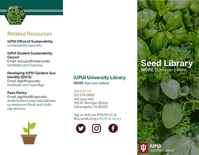 IUPUI University Library - Seed Library Brochure