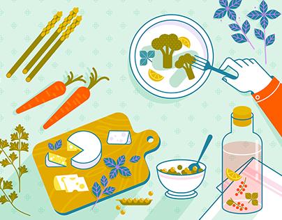 SLOW FOOD   Vector Illustrations