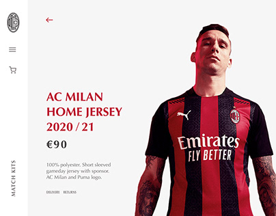 AC Milan eCommerce Store  | Landing Page Concept