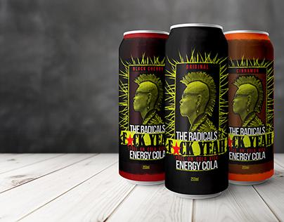 "Label Design ""Full On Cola Kick"" Energy Drink"