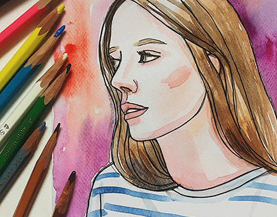 Watercolor paintings of a girls