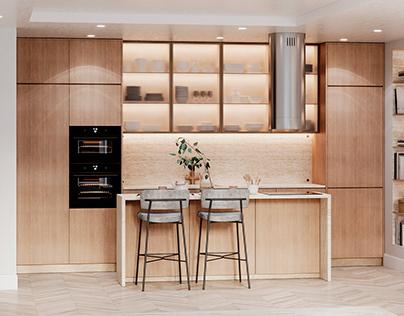 Travertine kitchen