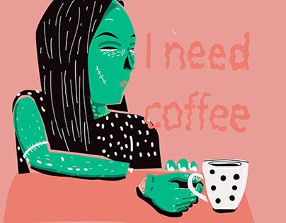 i need coffee illustration