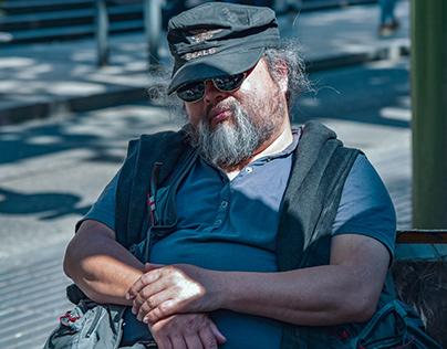 ( Street Man ) La Rambla boulevard in Barcelona