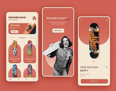 skateboard shop, ui design shot