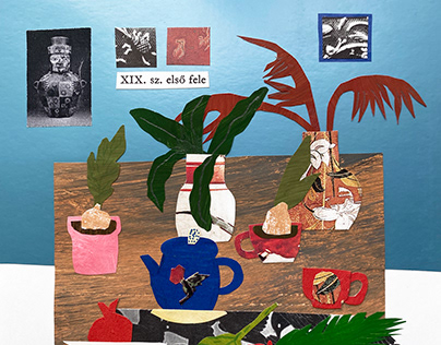 collage with vases