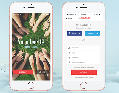 Sign Up Page for VolunteerUP