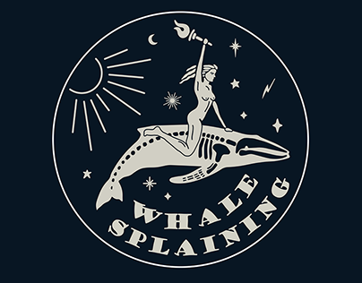 Whalesplaining logo and stickers
