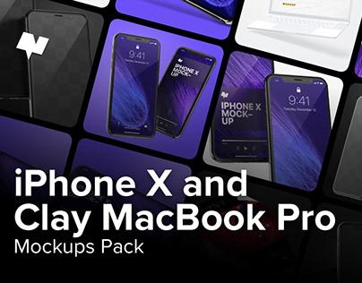 iPhone X & Clay MacBookPro Pack By:Original Mockups