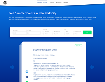 Website for New york summer event guide