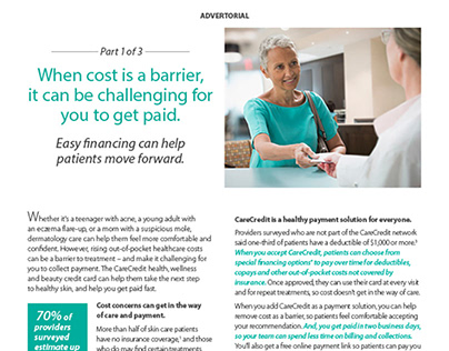 CareCredit Dermatology World Advertorial Series
