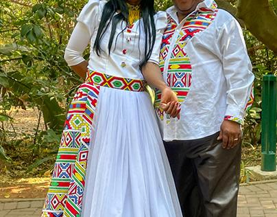 Traditional Ndebele wedding couple