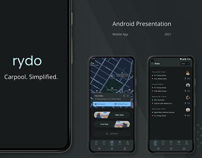 Rydo - Modern Carpool App - Android Presentation