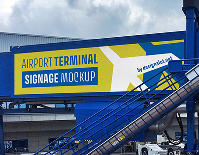 Airport terminal outdoor signage mockup