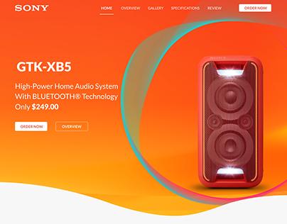 Sony Speaker Landing page