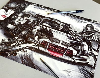 Drawing with Bic pen - Band Kiss mix with Stock Car