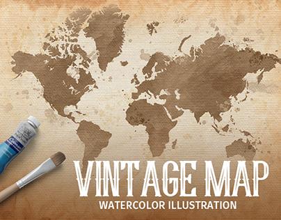 Vintage map. Watercolor illustration.