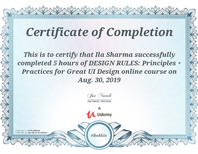 Certification: UI Design principles and practices cours