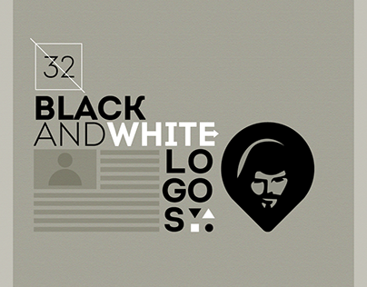Collection of 32 black and white logos.