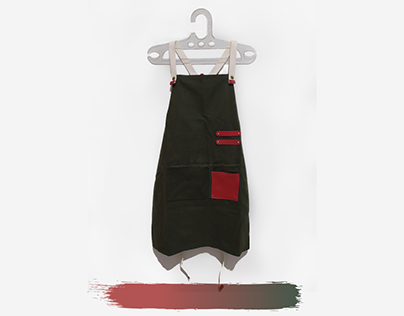 Army Canvas Apron with leather accent
