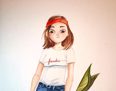 Watercolor Cartoon Portrait of a Girl