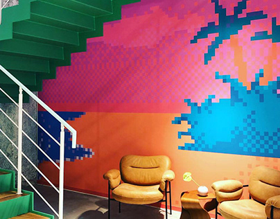 Shark neon + Pixel wallpaper