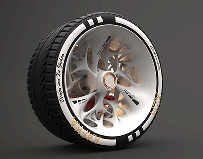 Car wheel design with slime mold as the theme