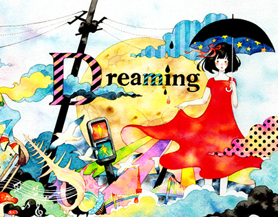 """Illustration series of """"dreaming"""" with watercolor"""