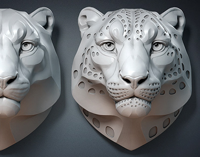 Snow Leopard sculpture. Digital 3d model