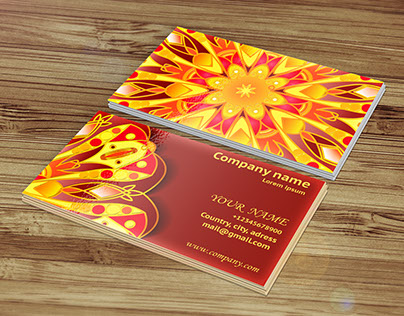 Visit card with mandala pattern