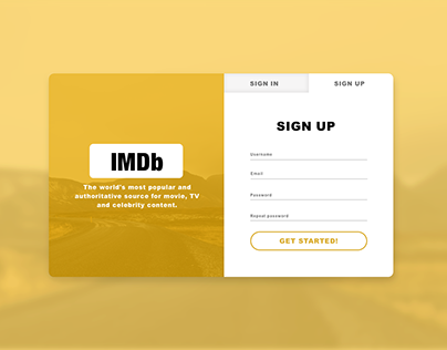 Daily UI #001 Sign up page IMDb redesign