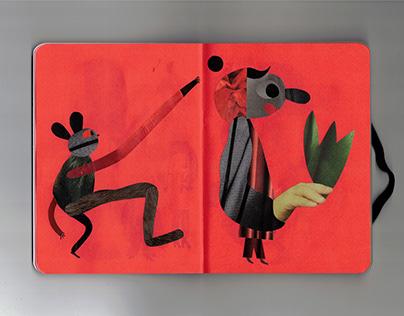 Series of collages in sketchbook