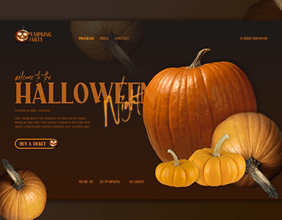 Homepage for a helloween party