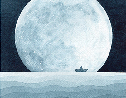 Sail me to the moon. Watercolor painting.