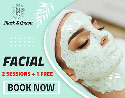 Social media design for mask & cream. facial