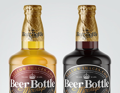 6 Beer Bottles With Foil PSD Mockups