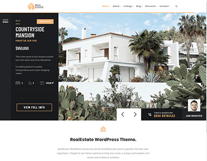 RealEstate WordPress Theme Live Demo by Visualmodo