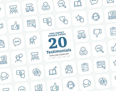 Testimonials | 20 Pixel Perfect Thin Line Icons Set