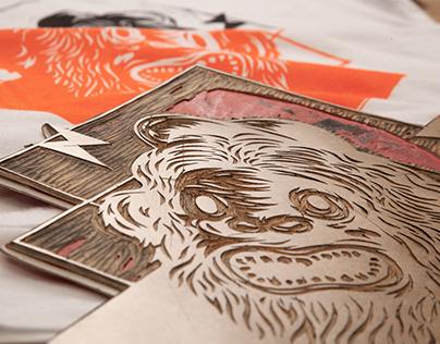 Monkeys linocut print