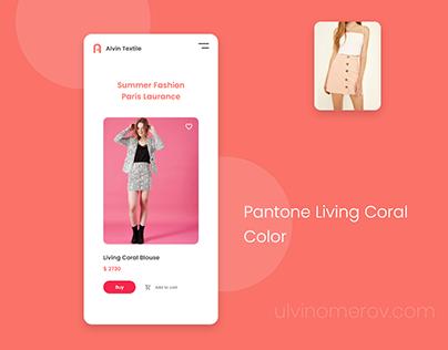 UI UX Ecommerce App Design - Pantone Living Coral Color