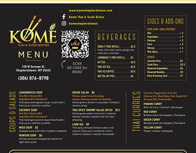 Dine in menu design
