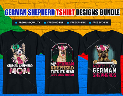 German Shepherd T-Shirt Designs Bundle