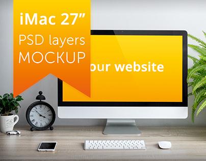 FREE Apple iMac PSD layers MOCKUP