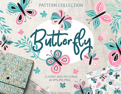 Butterflies clipart and patterns collection