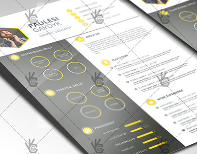 Yellow Clean Resume – Free PSD Template