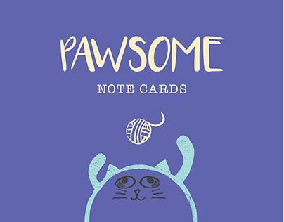Pawsome Note Cards. Block Printing