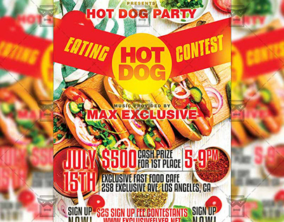 Hot Dog Eating Contest - Food A5 Template