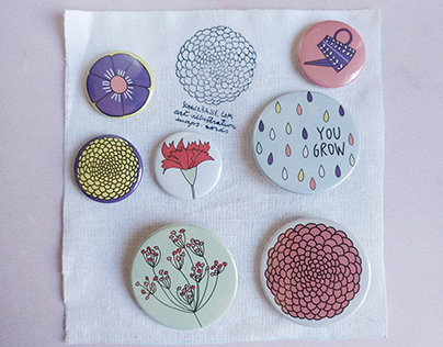 Flowers Pins and Badges